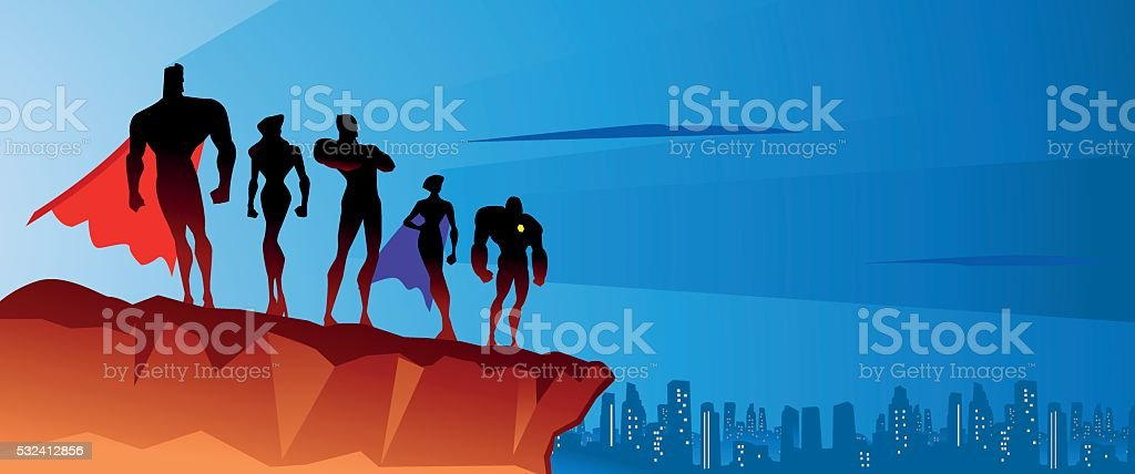 Superhero team on the top vector art illustration