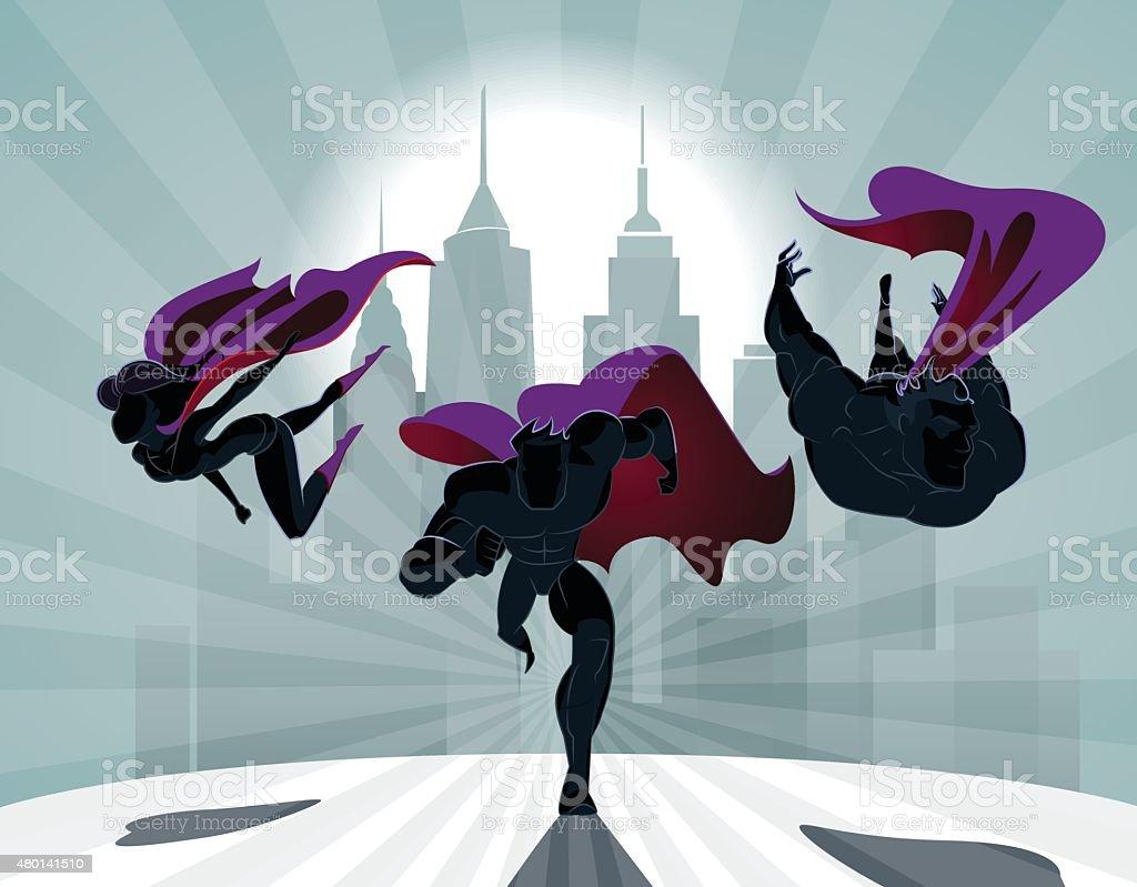 Superhero Team; Team of superheroes, flying and running in front vector art illustration