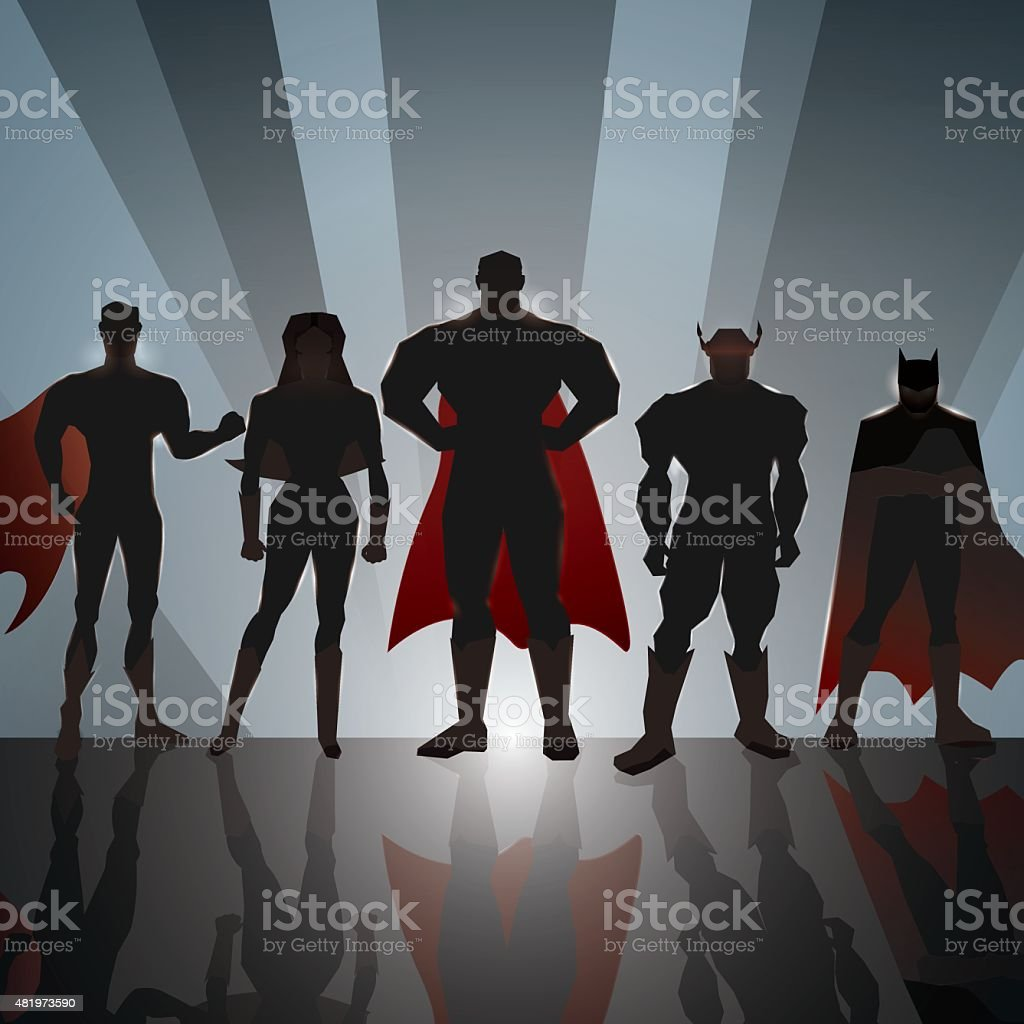 Superhero Team vector art illustration