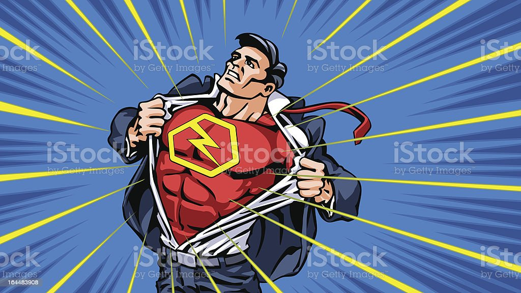 Superhero Transformation vector art illustration