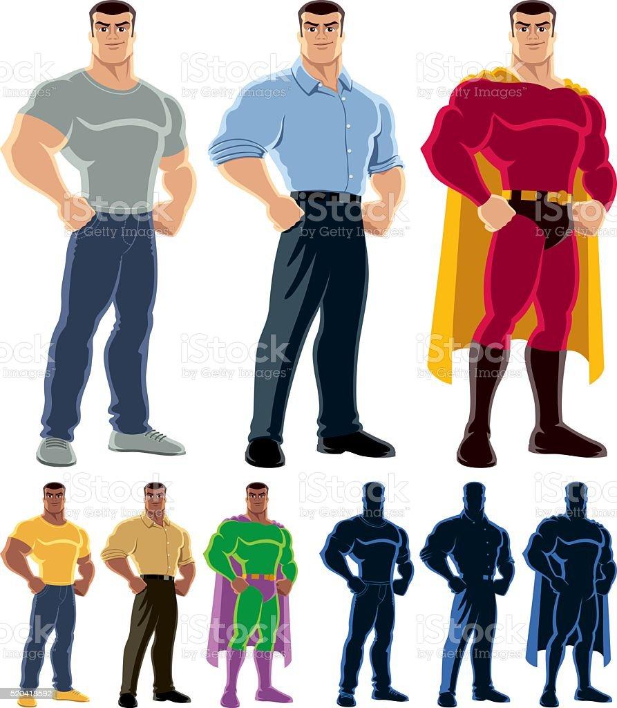 Superhero Transformation vector art illustration