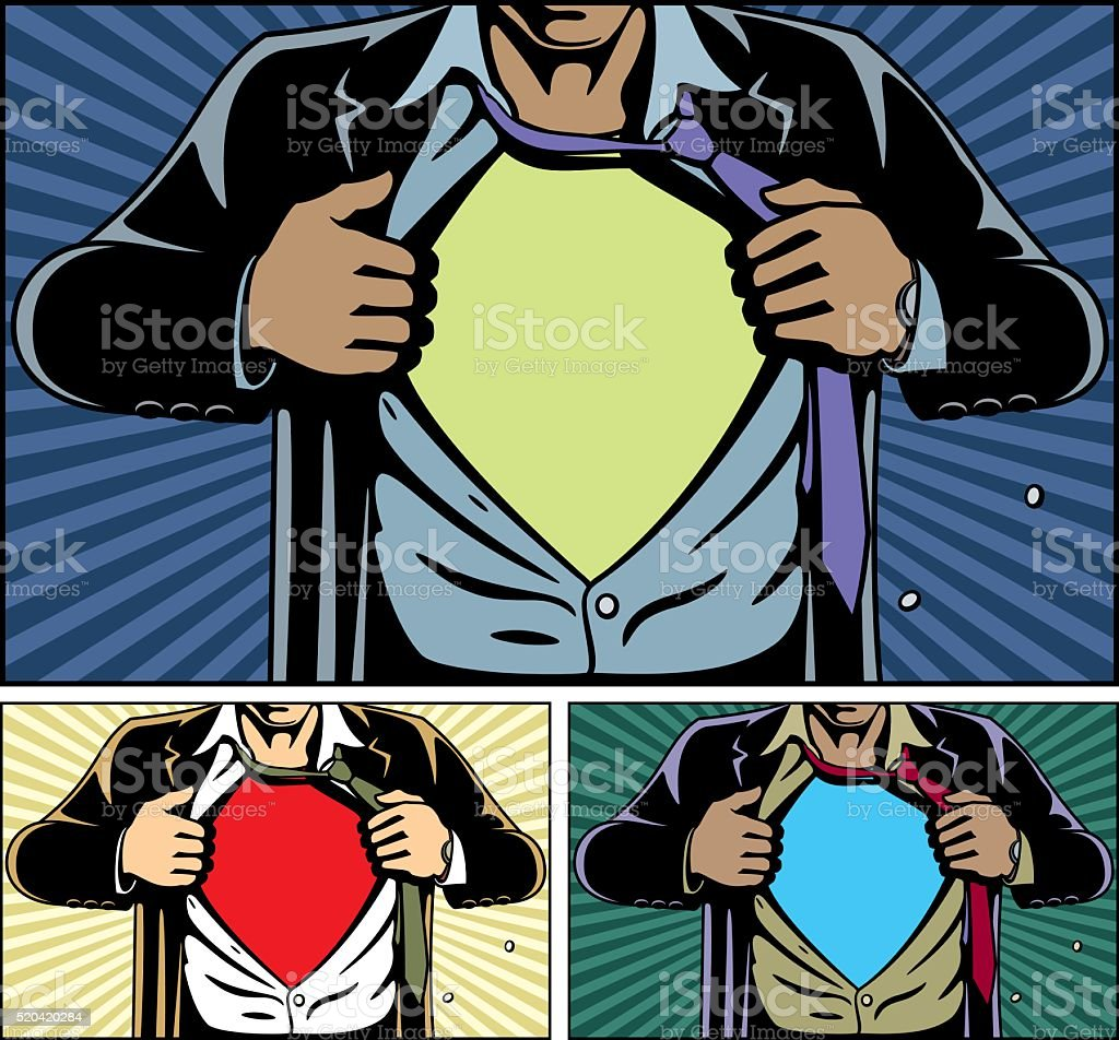 Superhero Under Cover vector art illustration