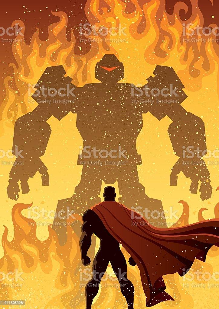 Superhero Versus Robot vector art illustration