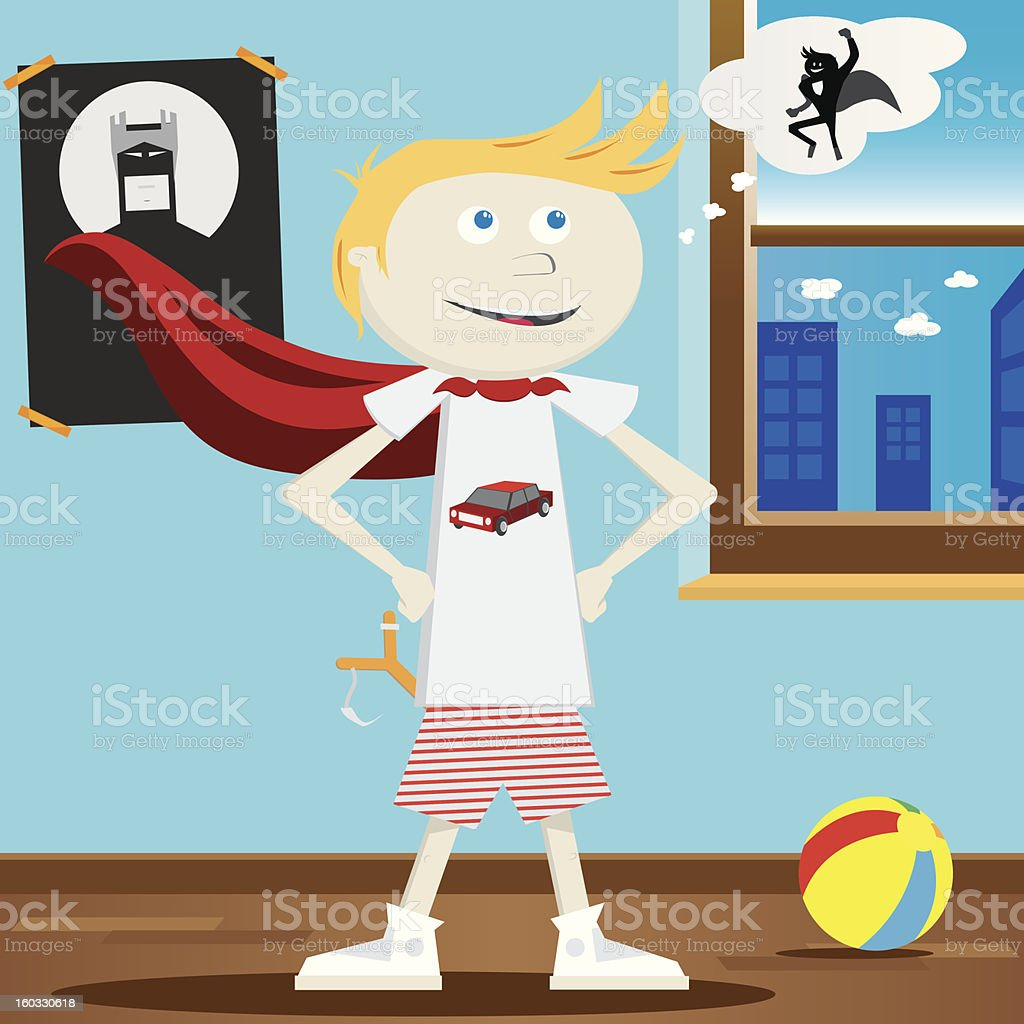 Superhero wannabe kid royalty-free stock vector art