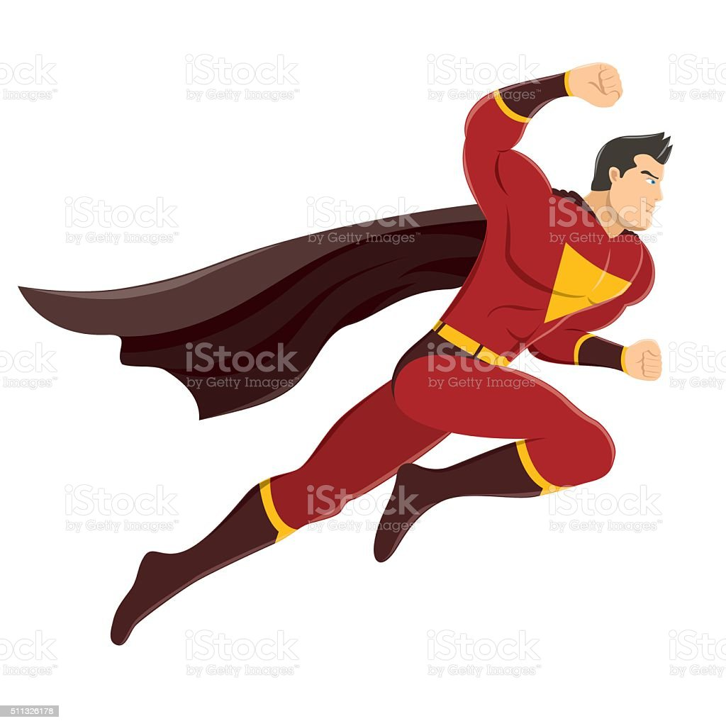 Superhero with Clenched Fist Ready to Fight vector art illustration