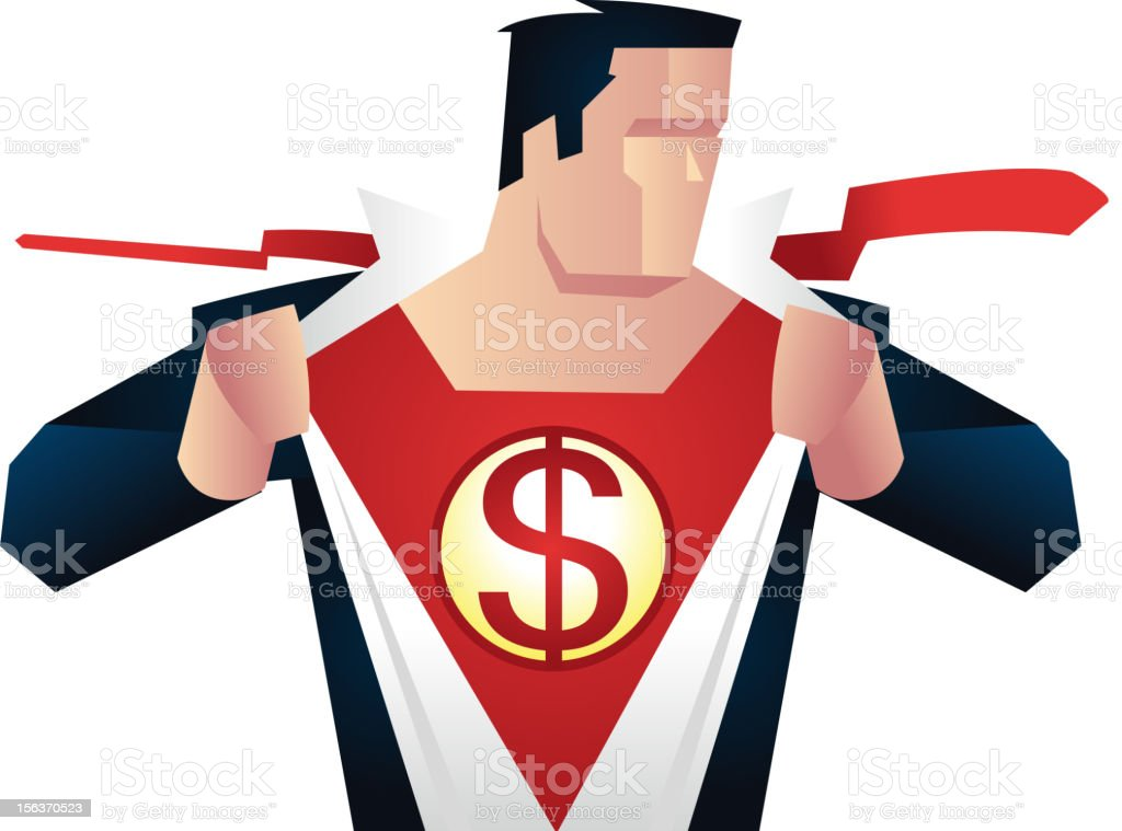 Superhero with dollar sign on his chest royalty-free stock vector art