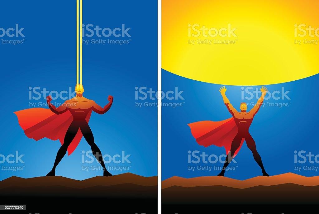 Superhero with heat power vector art illustration