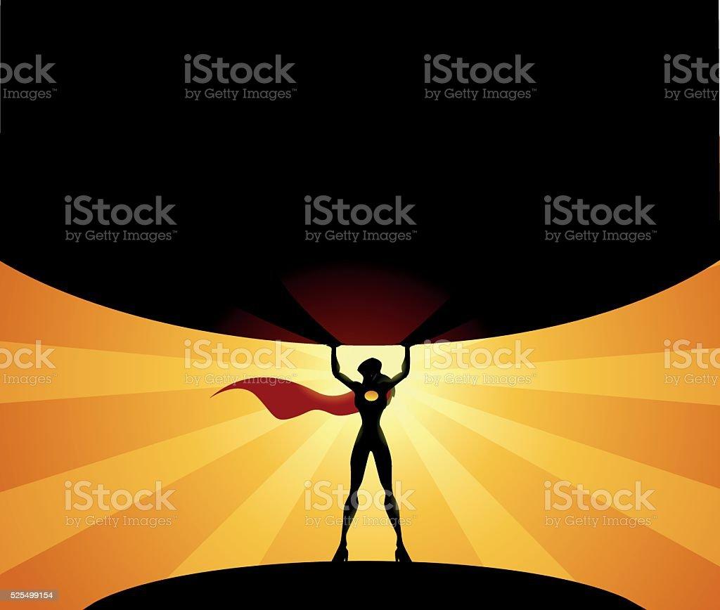 Superhero Woman lifts a globe vector art illustration