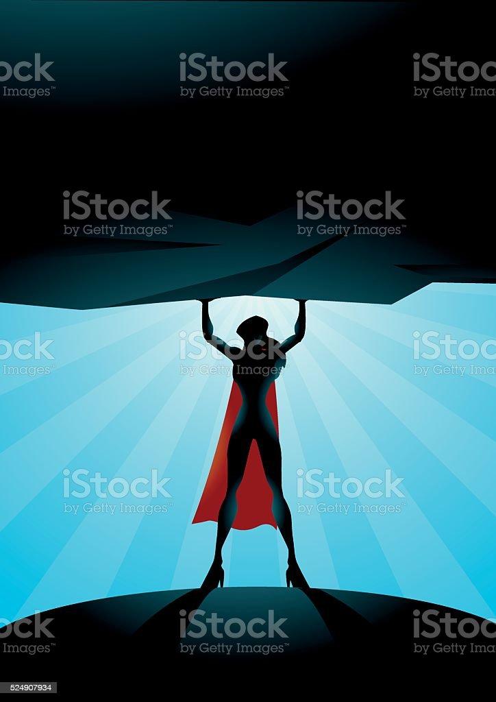 Superhero woman lifts a rock vector art illustration