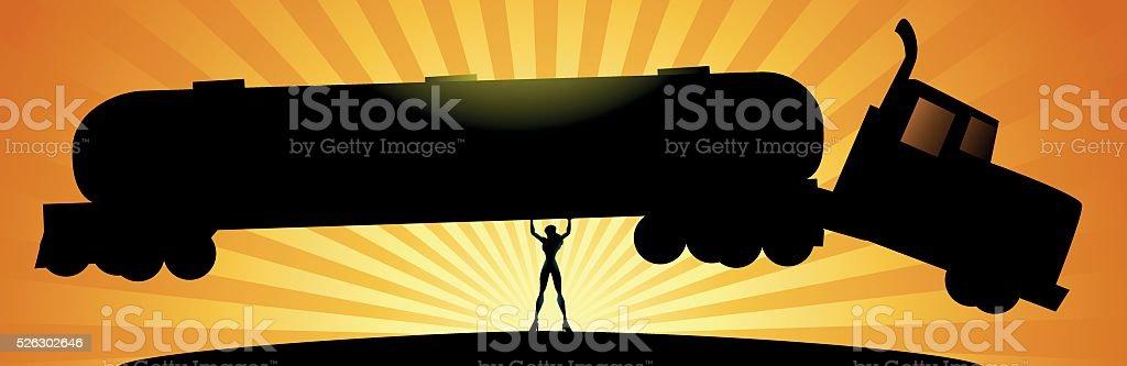 Superhero woman lifts a tanker vector art illustration