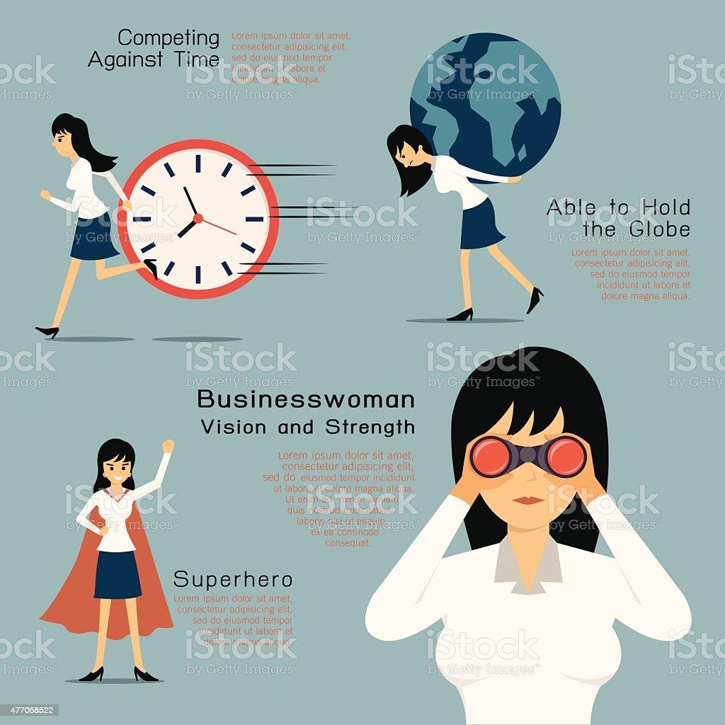 Superhero woman vector art illustration