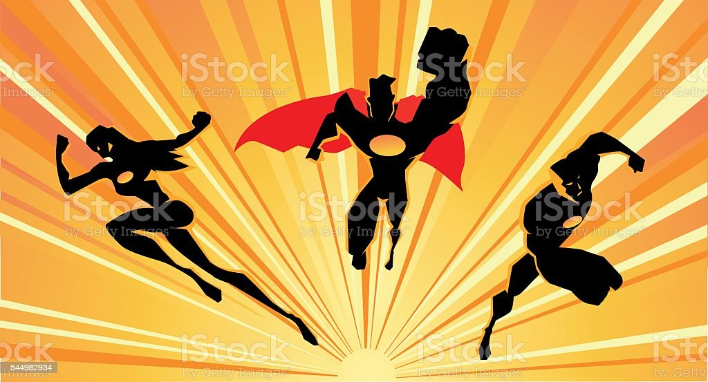 Superheroes Charging Silhouette vector art illustration