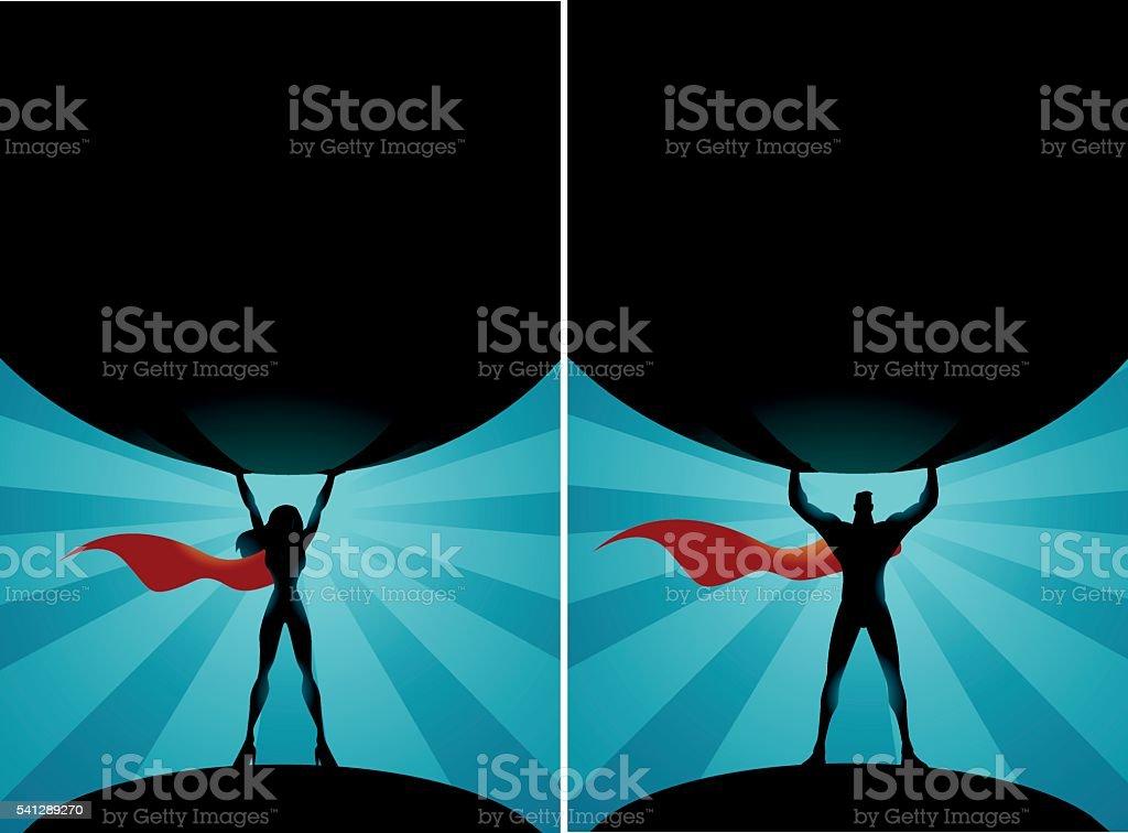 Superheroes Lift a Big Rock vector art illustration