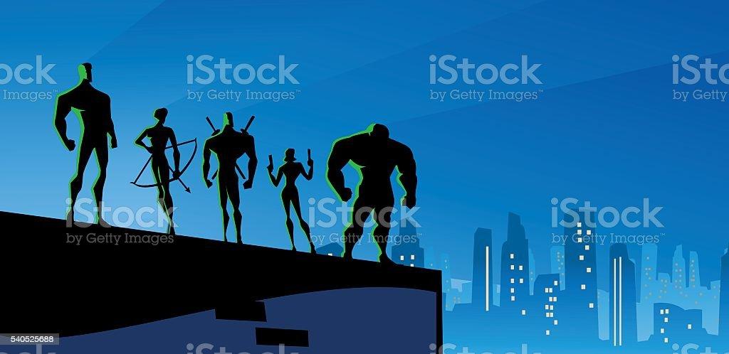 Superheroes Team at night in big city vector art illustration