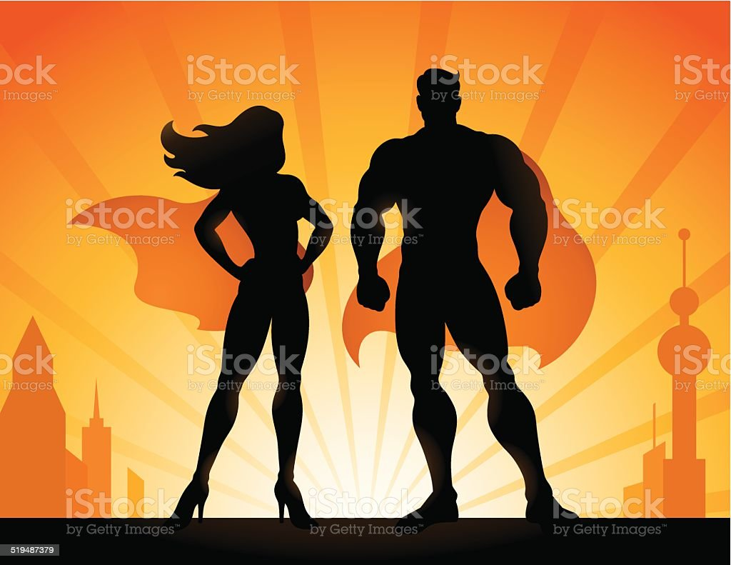 Superheroes vector art illustration