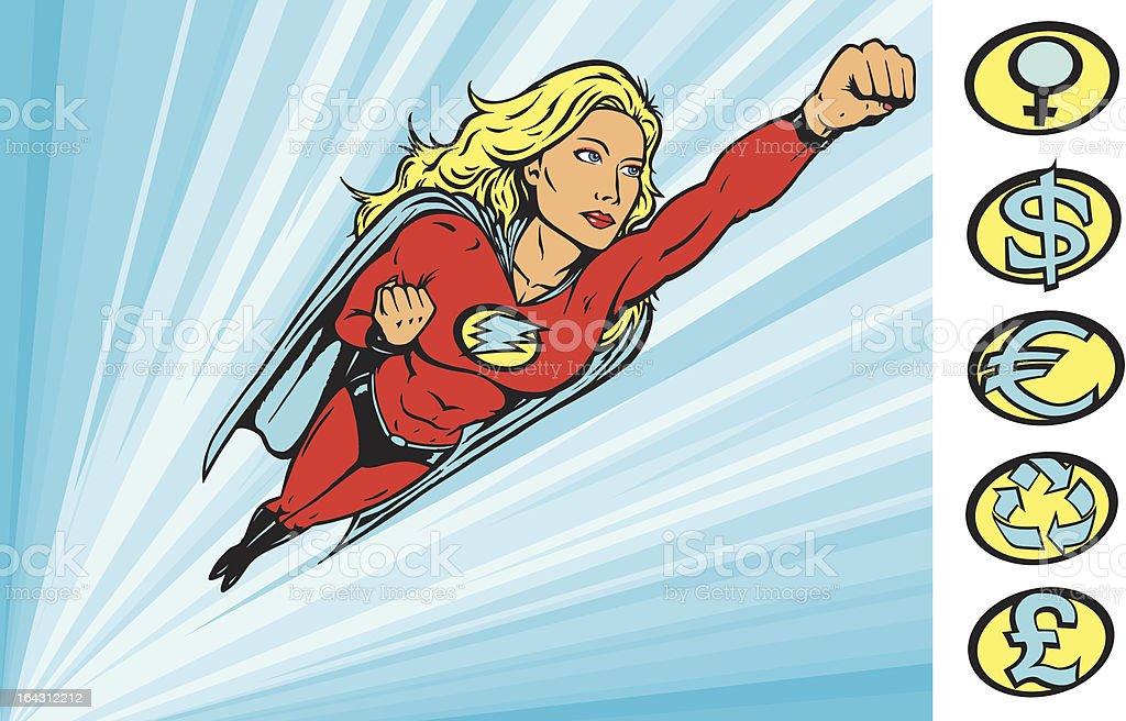 Superheroine flying into action vector art illustration