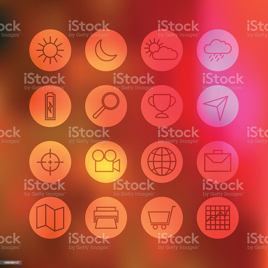 Superlight Interface Icon Set royalty-free stock vector art