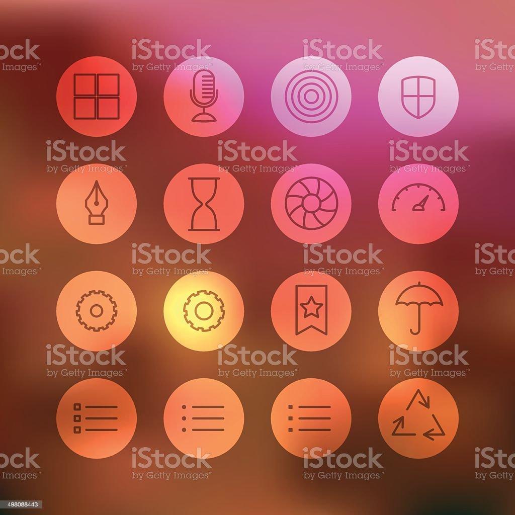 Superlight Interface Icon Set vector art illustration