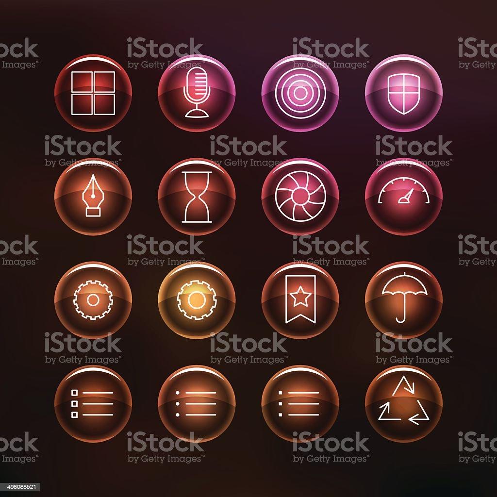 Superlight Transparent Glass Interface Icon Set vector art illustration