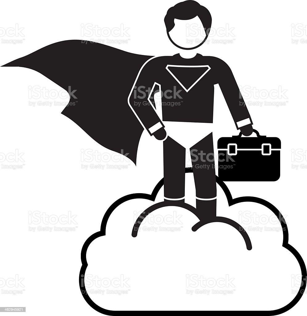 Superman Cloud Support vector art illustration