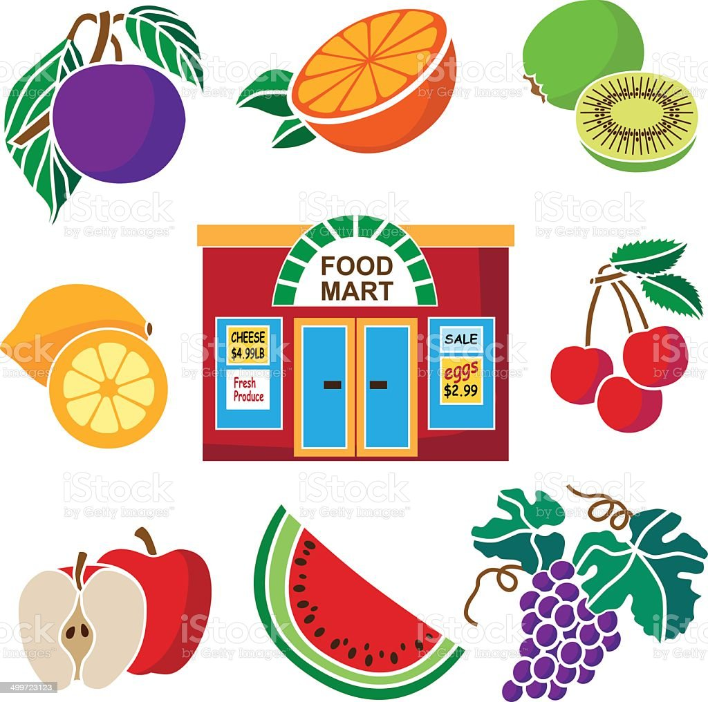 supermarket and fruit produce royalty-free stock vector art