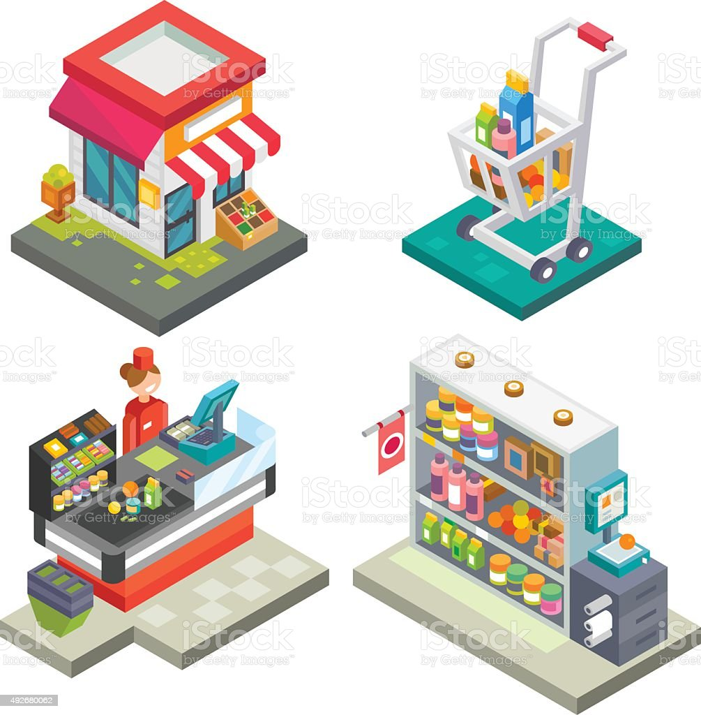 Supermarket and store stuff. vector art illustration
