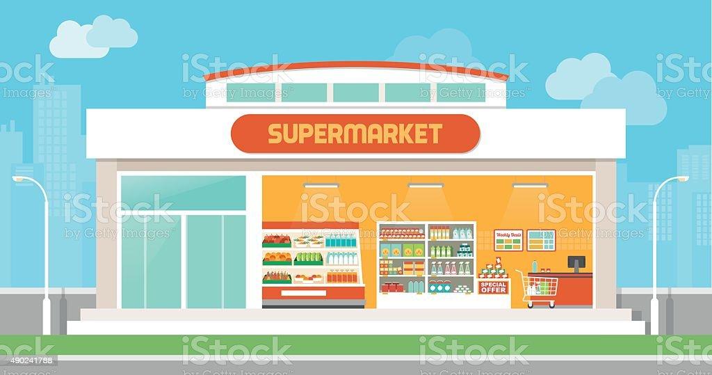 Supermarket building vector art illustration
