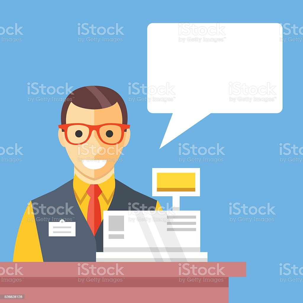 Supermarket cashier and speech bubble, Flat design. Creative vector illustration vector art illustration
