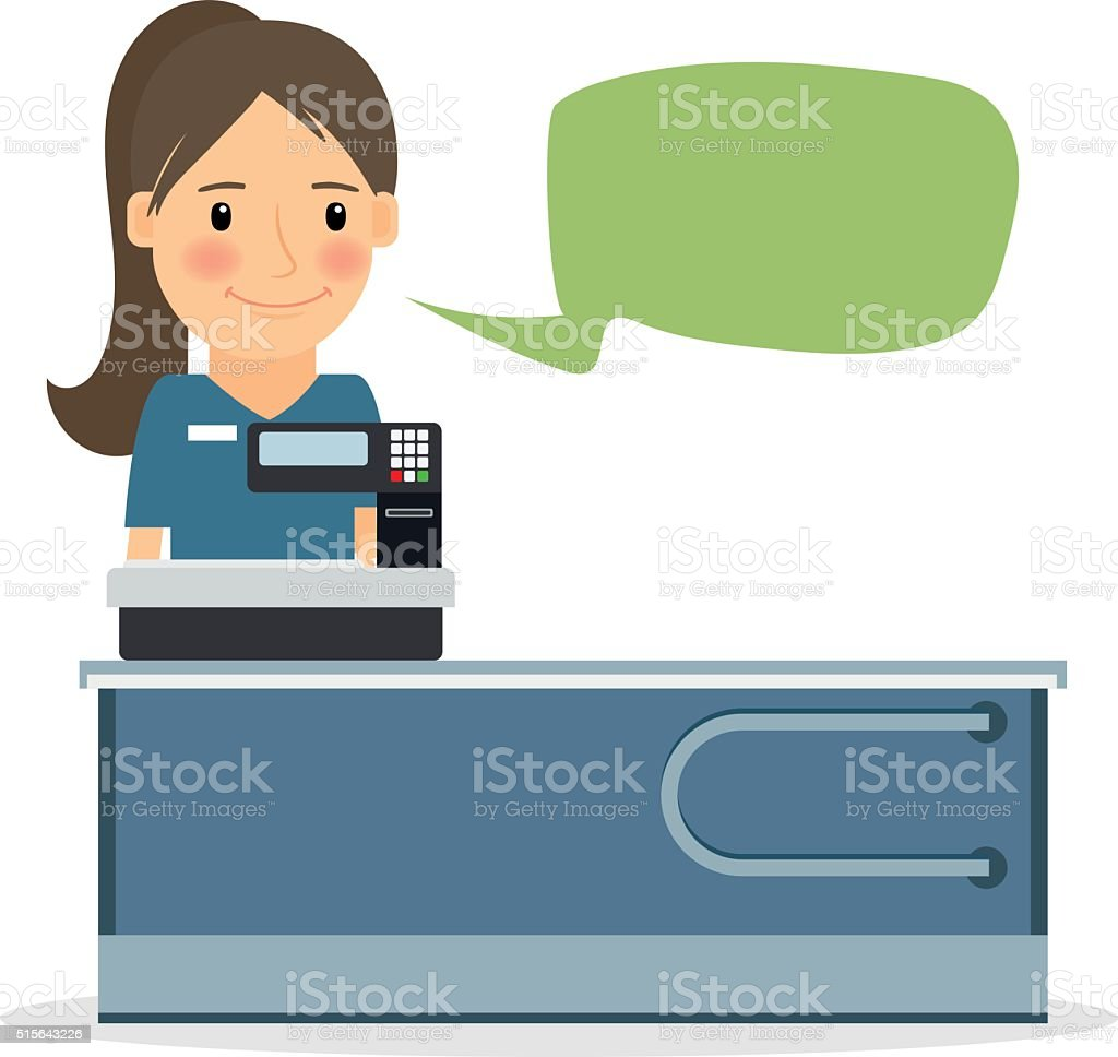 Supermarket cashier woman vector art illustration