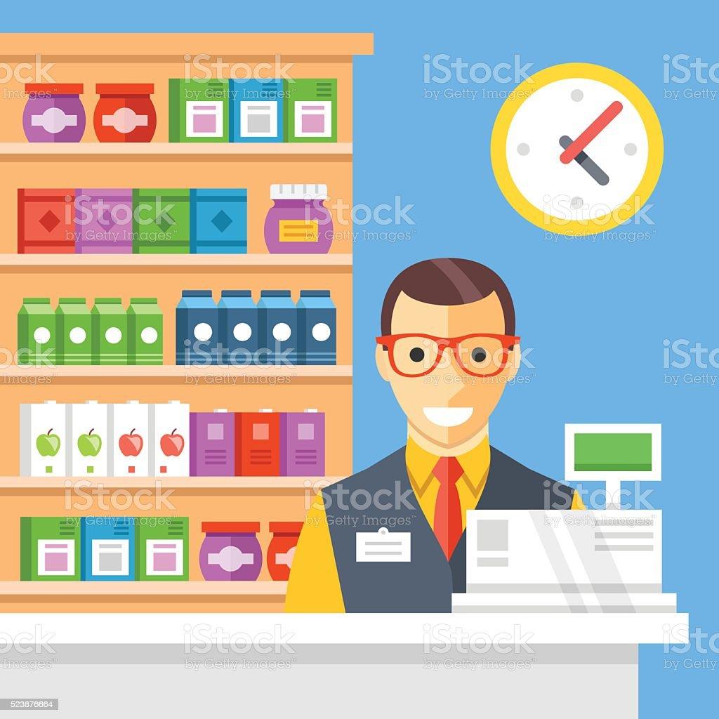 Supermarket checkout and cashier. Flat vector illustration vector art illustration