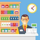 Supermarket checkout and cashier. Flat vector illustration