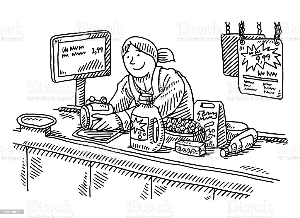 Supermarket Checkout Counter Woman Drawing vector art illustration