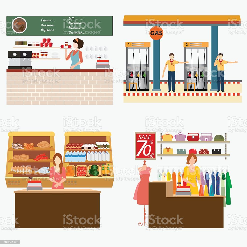 Supermarket coffee shop oil station and clothing shop. vector art illustration