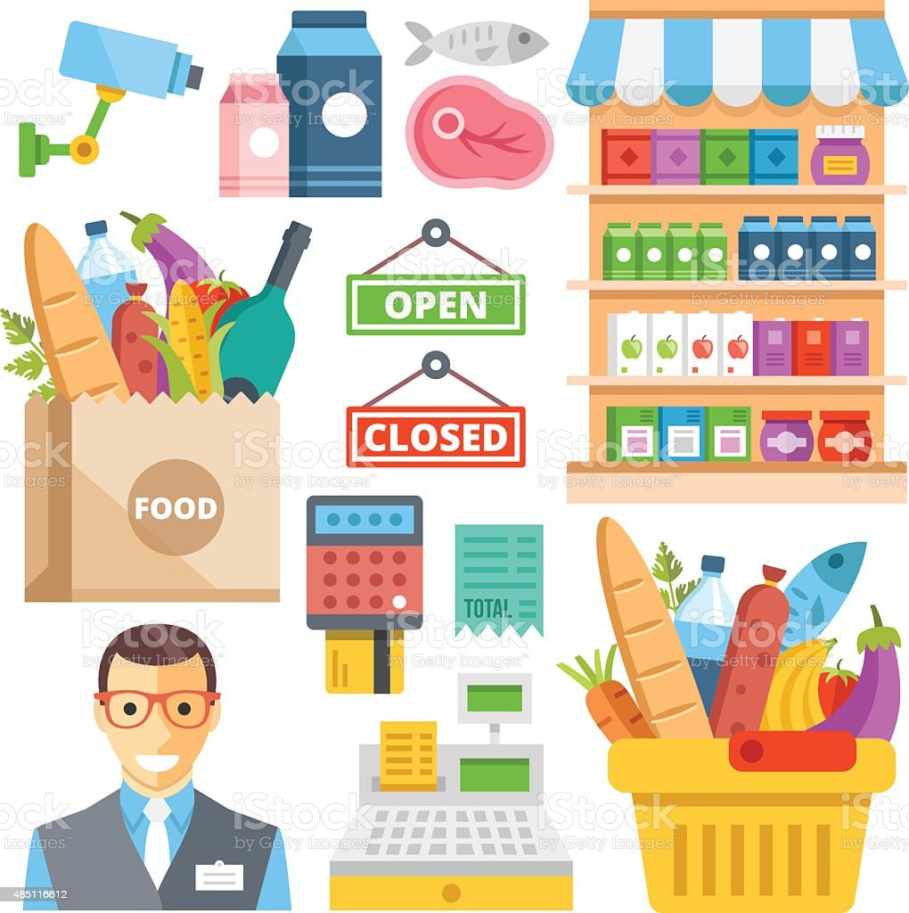 Supermarket equipment, food assortment, food retail flat icons set vector art illustration