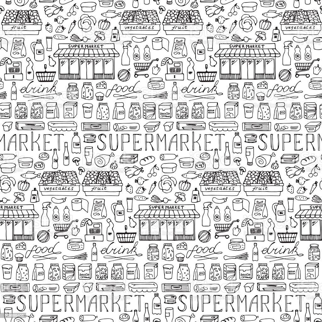 Supermarket hand drawn seamless pattern vector art illustration