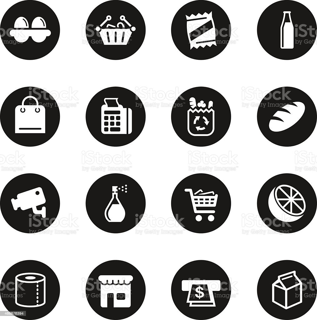 Supermarket Icons - Black Circle Series vector art illustration