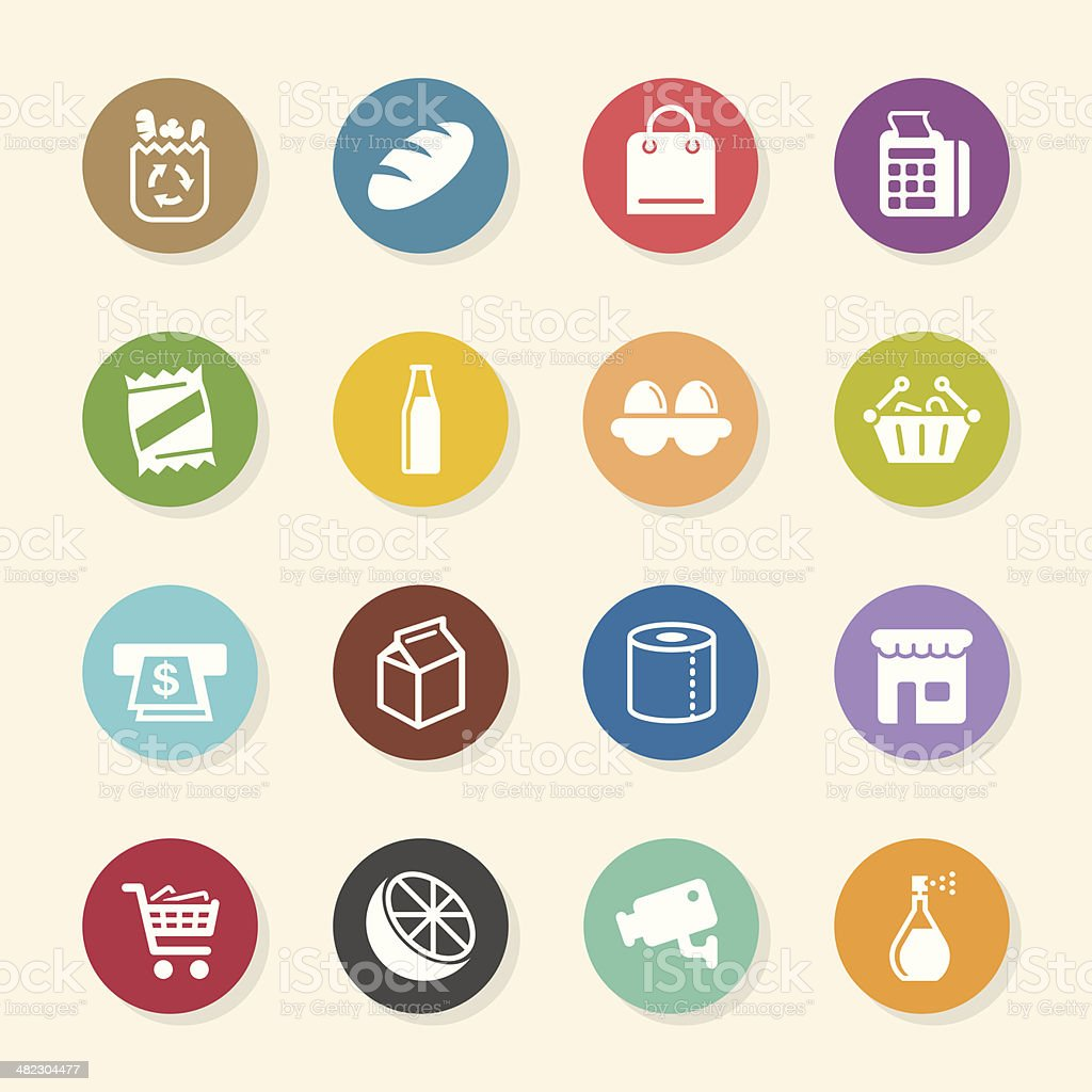 Supermarket Icons - Color Circle Series vector art illustration