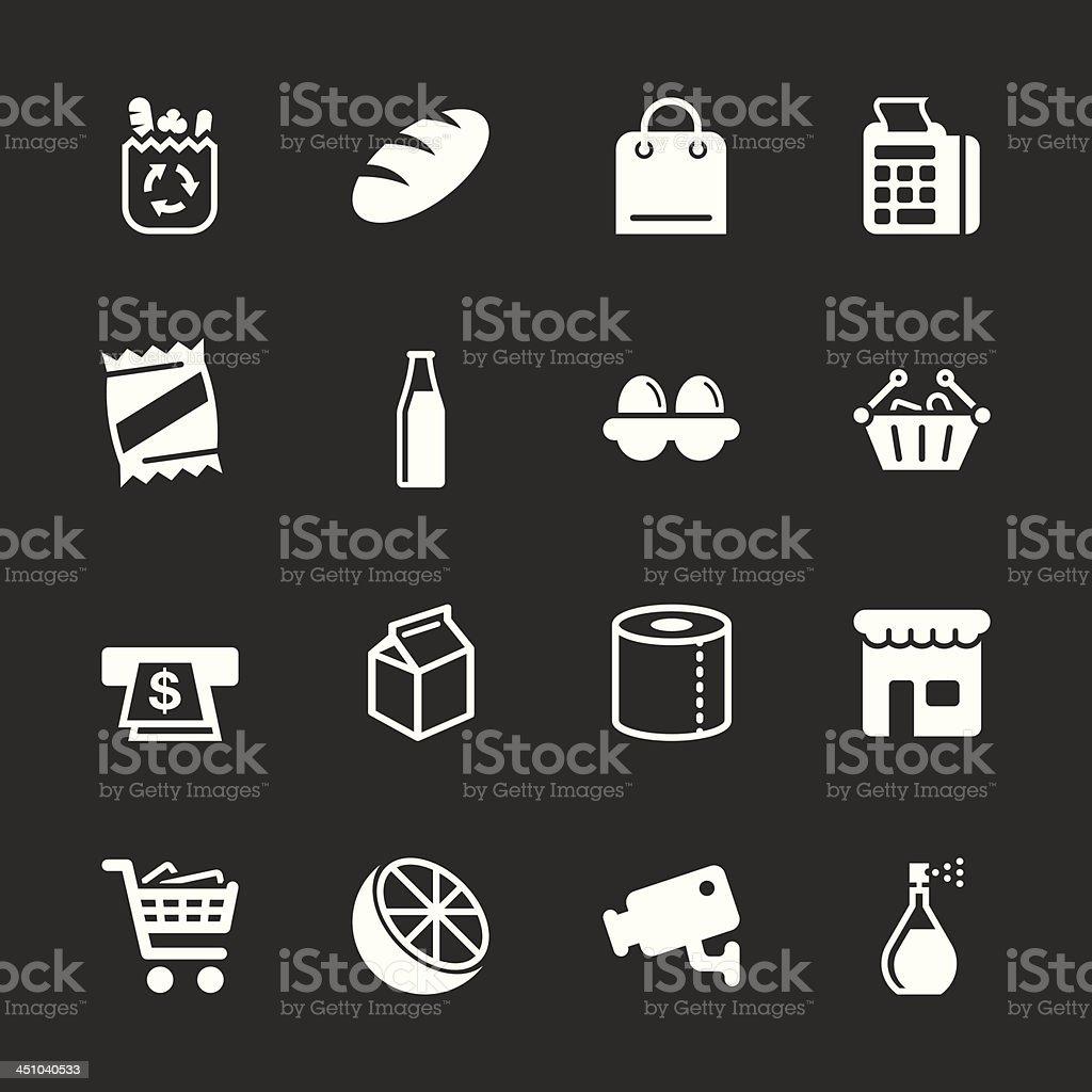 Supermarket Icons - White Series | EPS10 vector art illustration