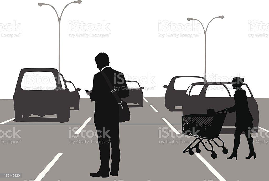 Supermarket Parking vector art illustration