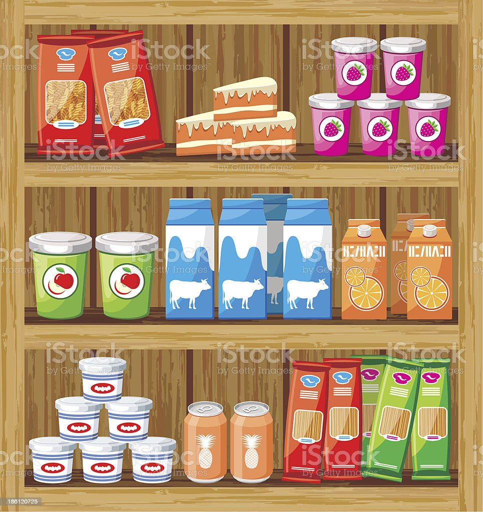 Supermarket. Shelfs with food royalty-free stock vector art