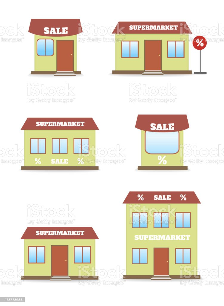 Supermarket, shop, store icon set royalty-free stock vector art
