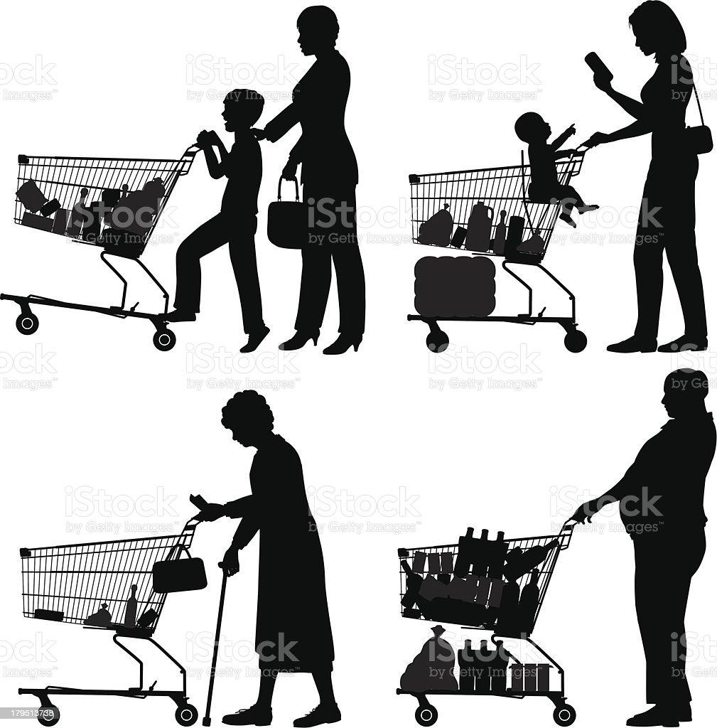 Supermarket shoppers royalty-free stock vector art