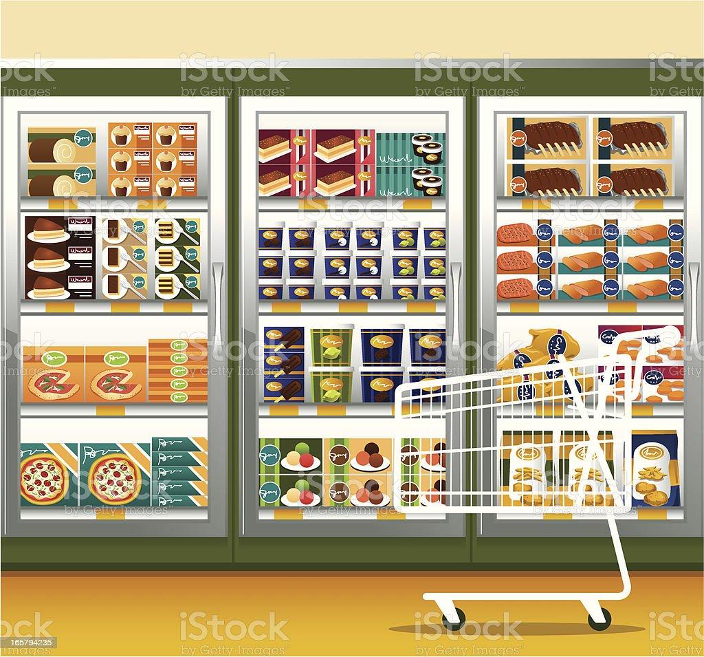 Supermarket & shopping cart vector art illustration