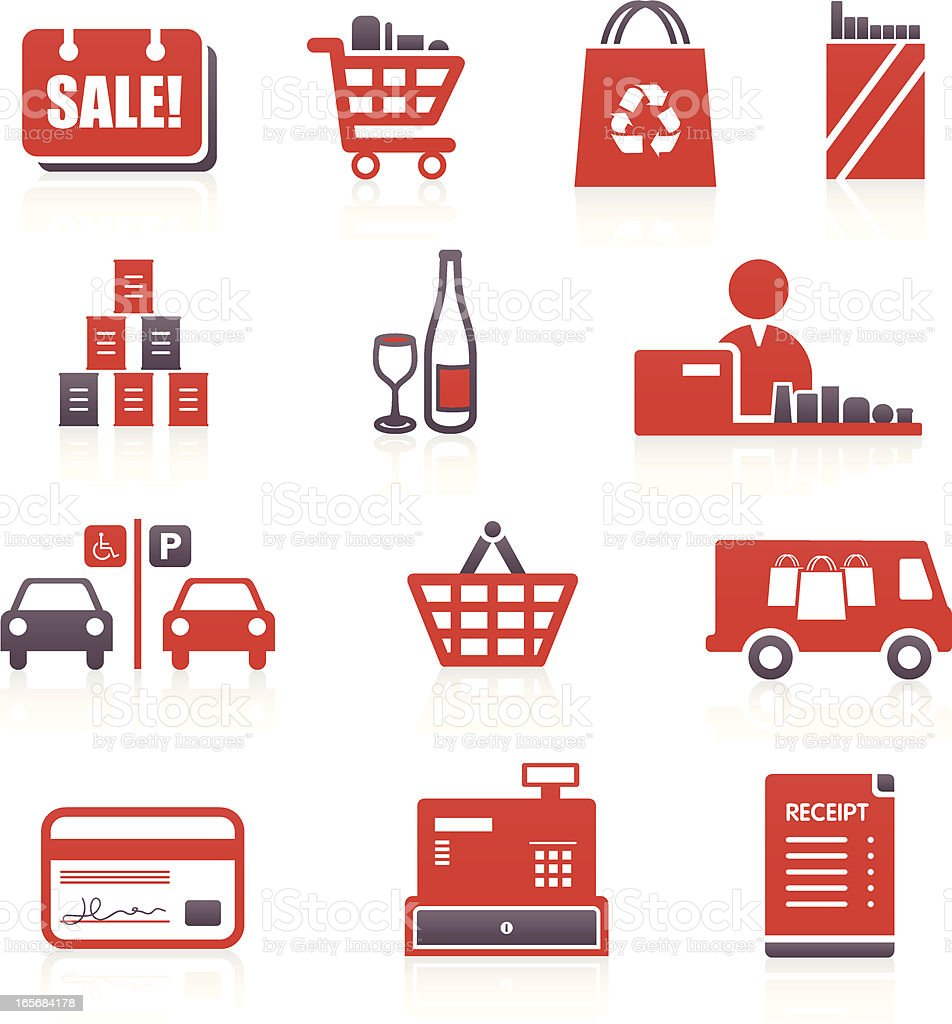 Supermarket & Shopping Icons royalty-free stock vector art