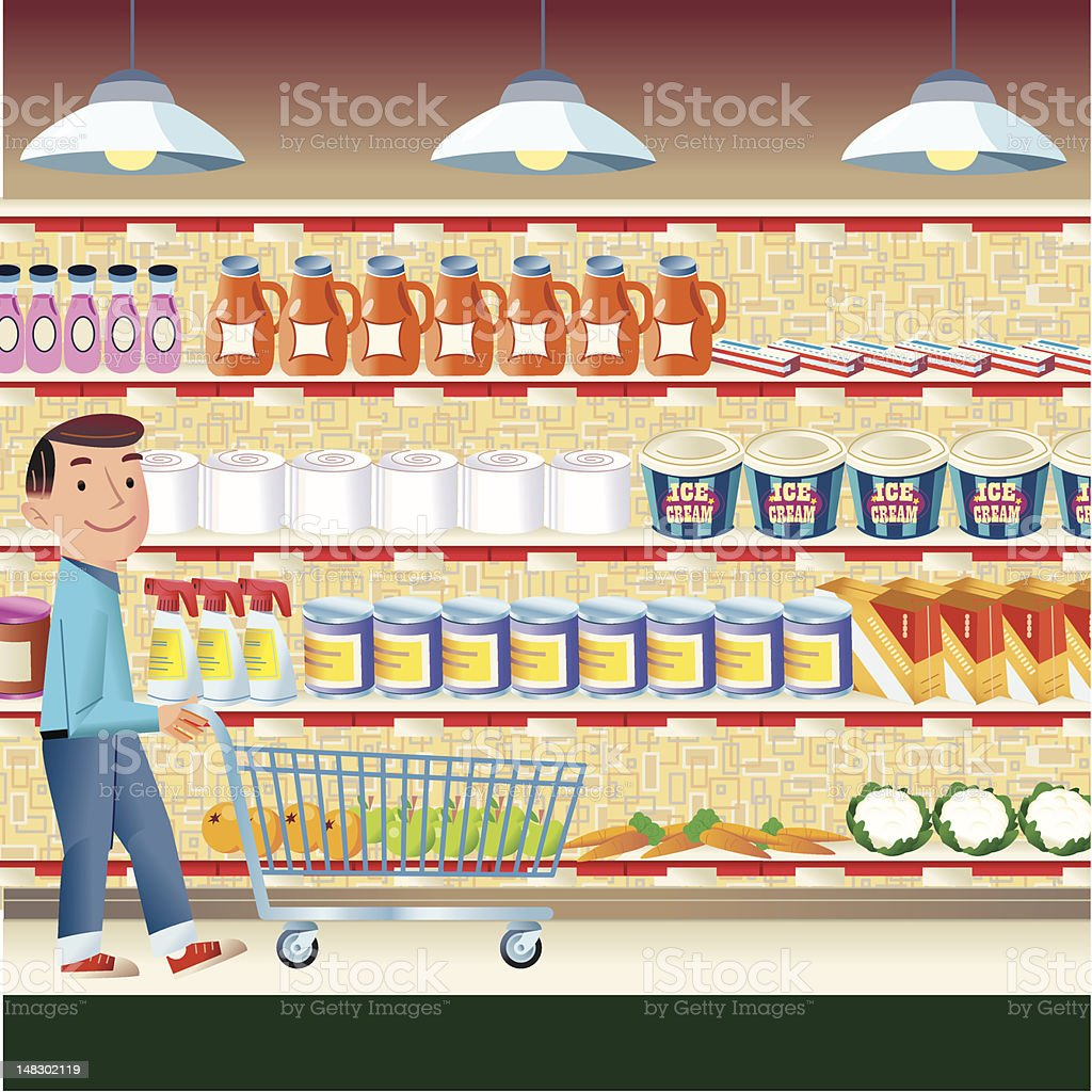 Supermarket Shopping vector art illustration