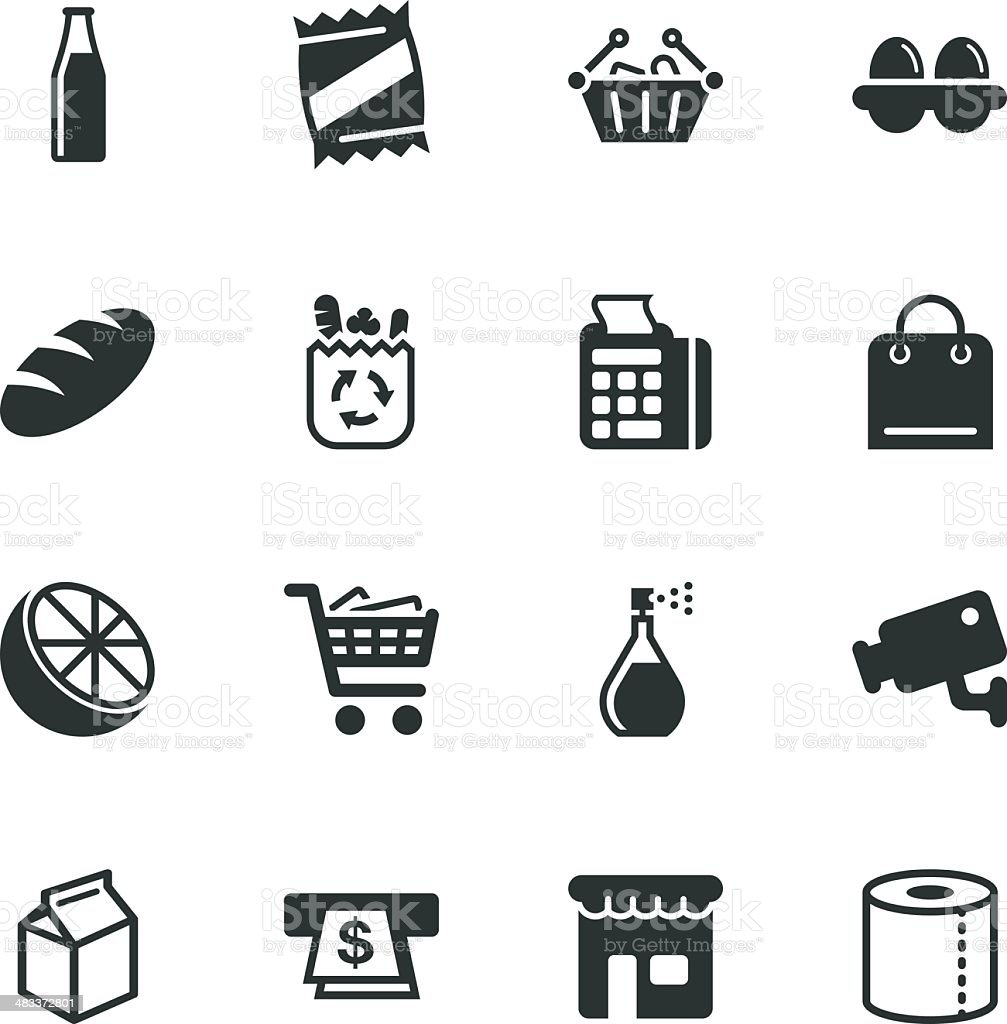 Supermarket Silhouette Icons vector art illustration
