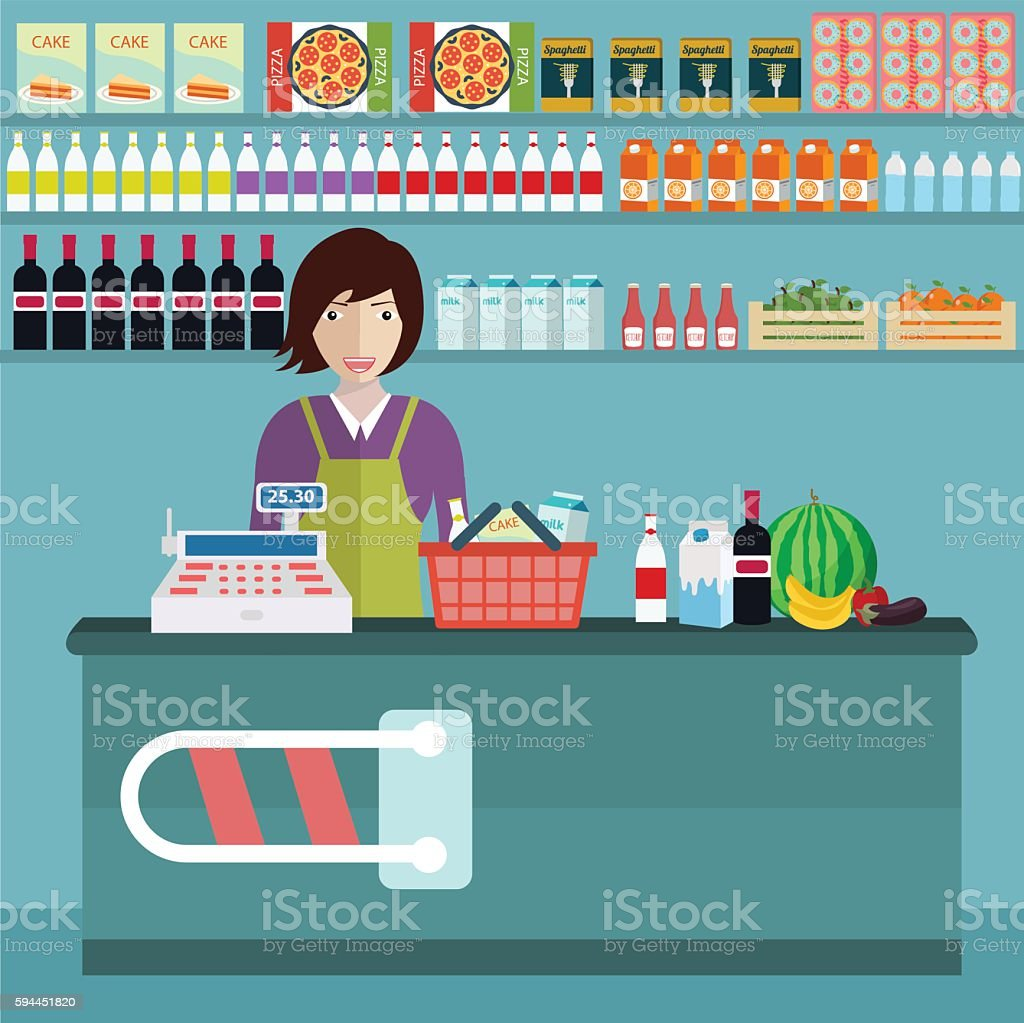 Supermarket store counter desk equipment and clerk in uniform vector art illustration