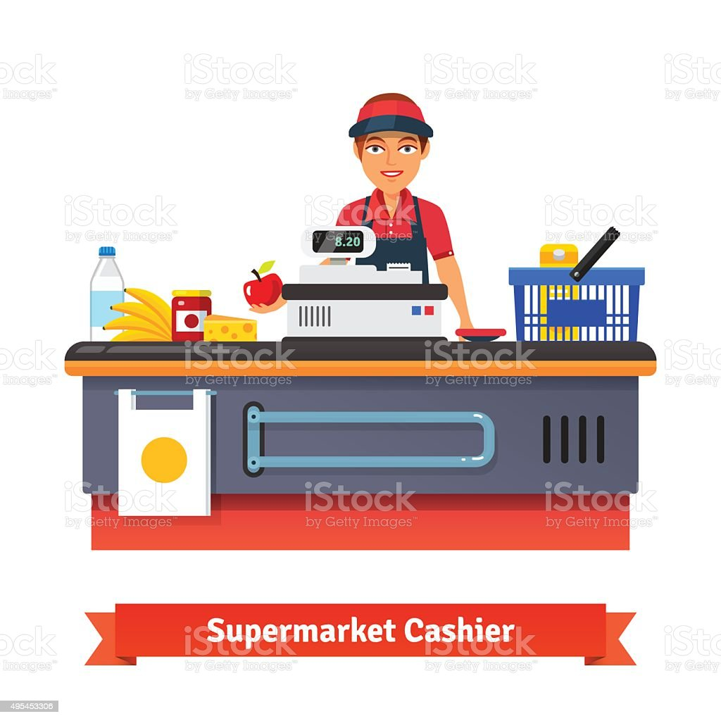 Supermarket store counter desk equipment and clerk vector art illustration