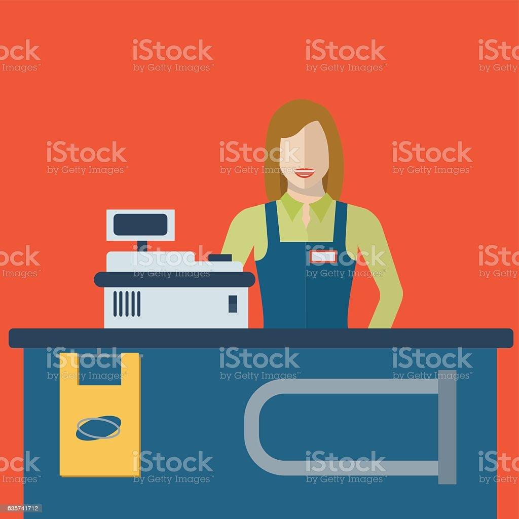 Supermarket store female cashier woman or sales clerk at store vector art illustration