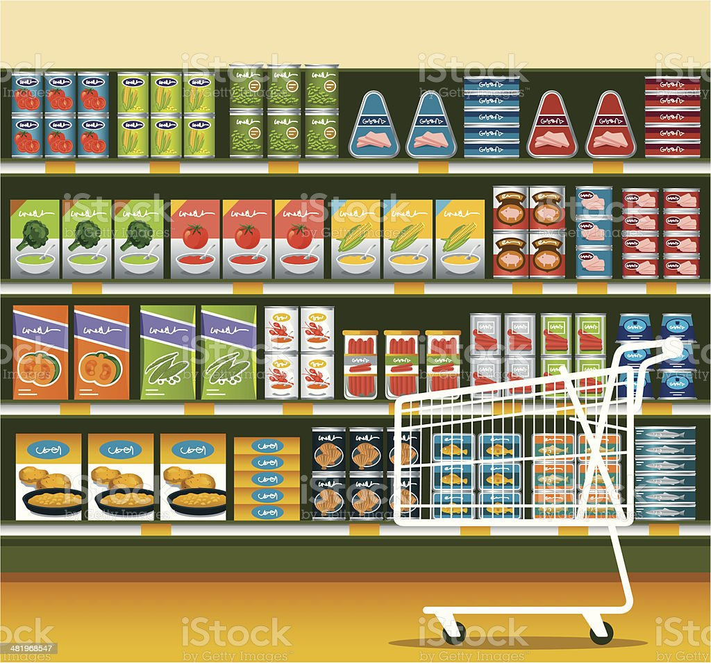 Supermarket with Canned Food royalty-free stock vector art